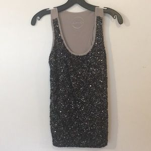 Black sequin Bling tank top! Size S like NEW CUTE!